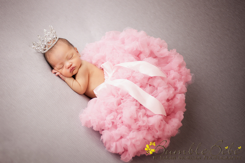 Baby Kira being a diva in our crystal crown and pink tutu