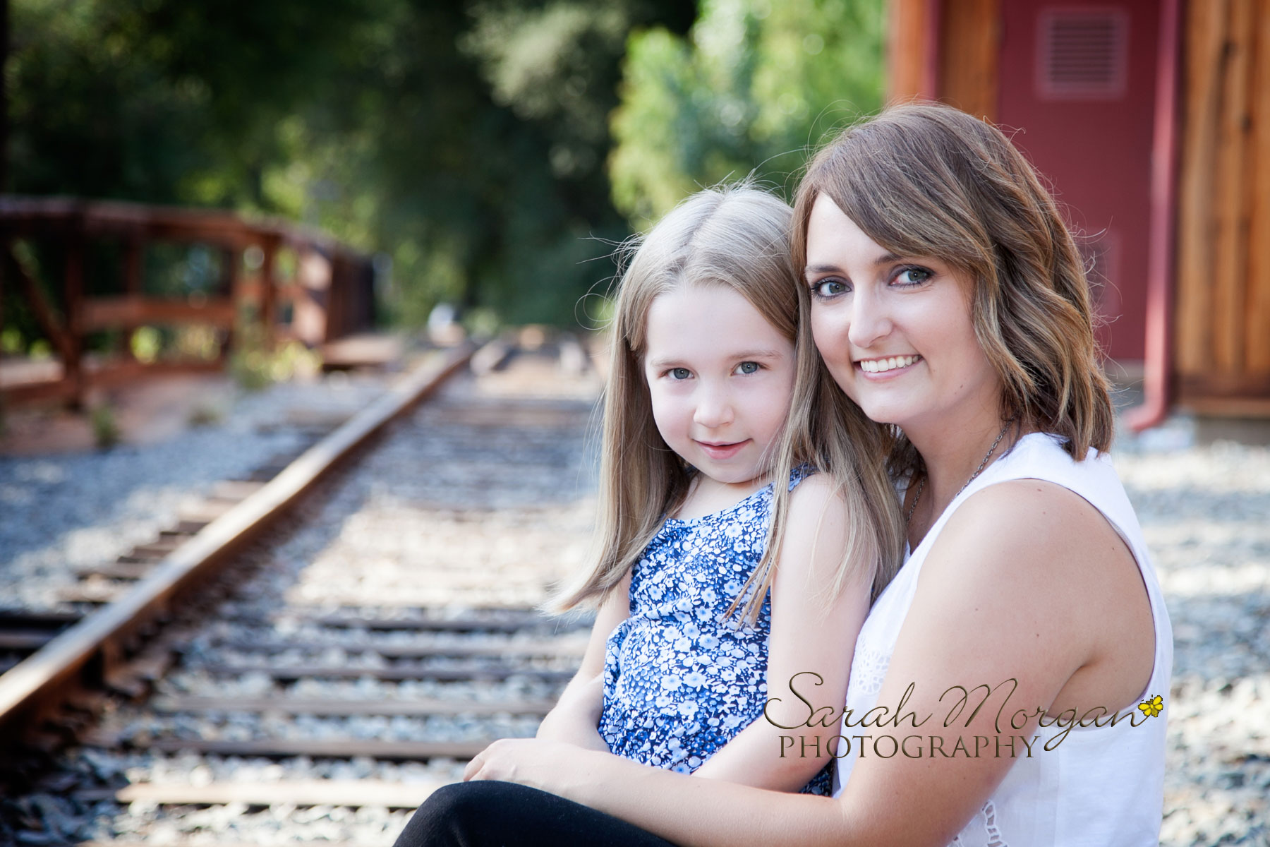 Mom & Daughter photo on tracks in Old Poway Park
