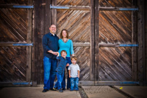 Family Portrait in front of train barn at Old Poway Park
