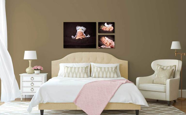 Bedroom with portrait of newborn baby