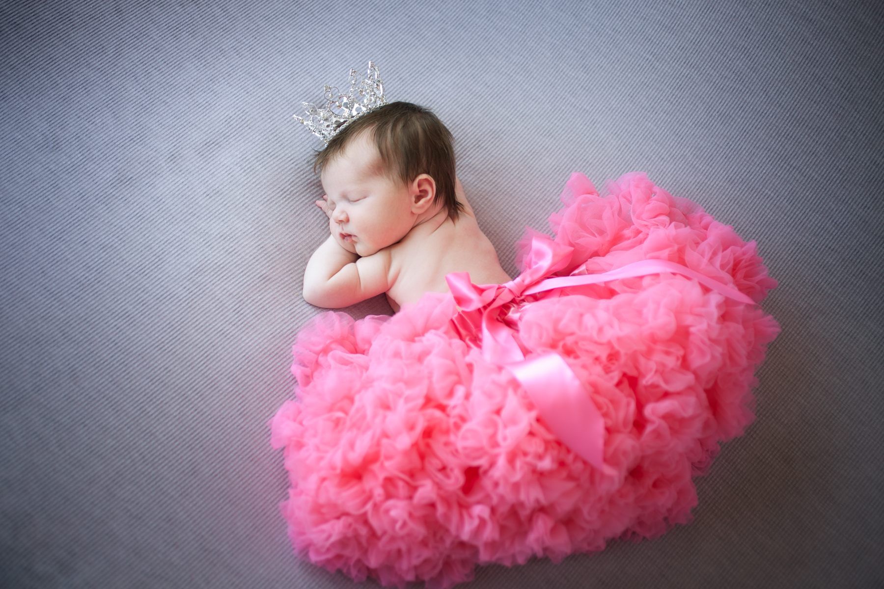 newborn baby Georgiana in pink tutu and crystal tiara