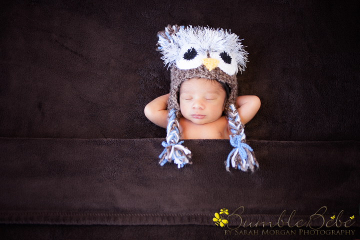 Baby Kabir chillin in our owl hat