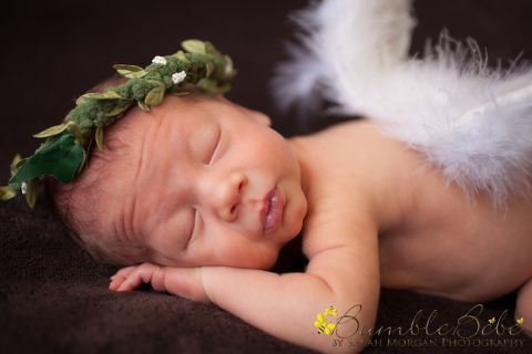 newborn portrait of baby with angel wings and halo