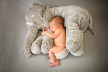 Baby Logan with his elephant