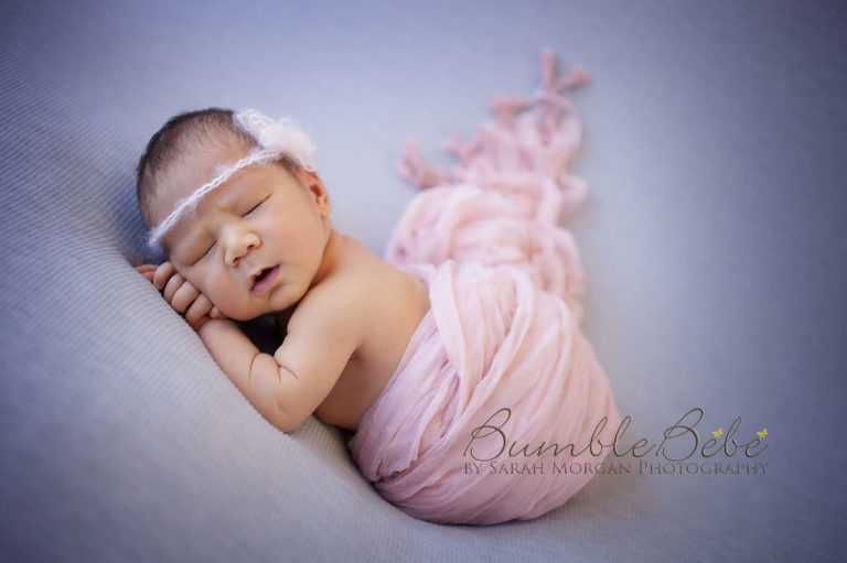 Baby Sophia wrapped in pink