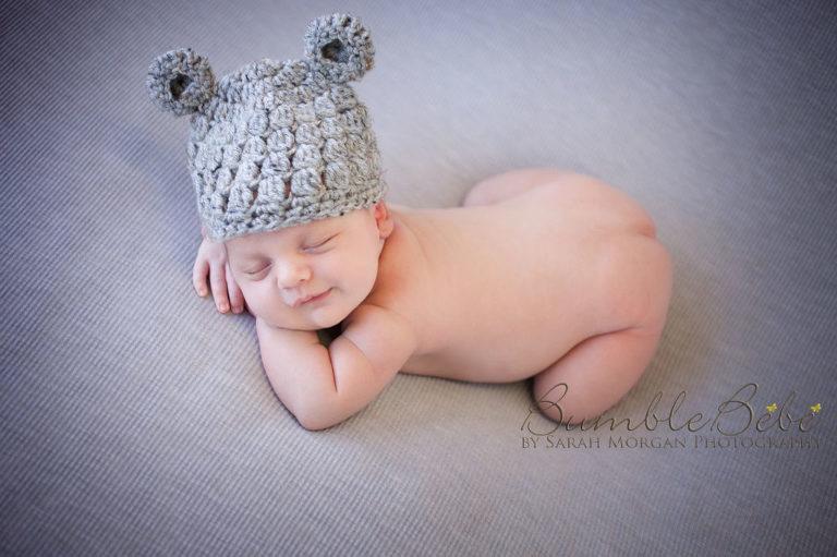 Baby Sterling in teddy bear hat